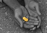 Hand arm banrupt beggar budget burden bust coin Stock Photos