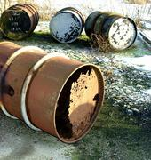 barrel burden cask container damage danger old - stock photo