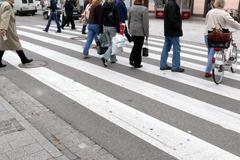 Cross crosswalk danger human pedestrian crossing Stock Photos