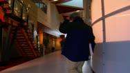 Jib shot of office lobby Stock Footage