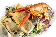 Food fish crustaceae eat good friday health Stock Photos