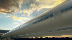 Pipeline sunset. Stock Footage