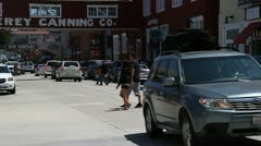 Stock Video Footage of Cannery Row busy sidewalk Monterey California