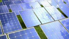 Solar panels, sky, sun and three 3d animations in one Stock Footage