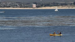 Kayakers paddle, sailboat and speedboat pass Stock Footage