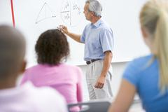 Students in math class with teacher - stock photo