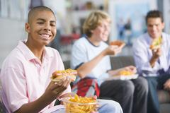 Students having lunch Stock Photos