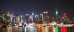 new york city night skyline panorama - stock photo