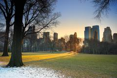 Central park with sunset, new york city Stock Photos