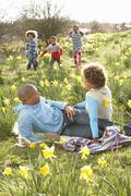 Family relaxing in field of spring daffodils Stock Photos