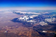 snow mountain aerial view - stock photo