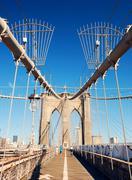 new york city manhattan brooklyn bridge - stock photo