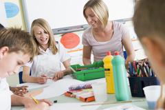 Students in art class with teacher Stock Photos