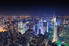 New york city manhattan at night Stock Photos