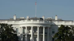 White House Close Up in Washington DC with Flag Waving in the Wind - stock footage
