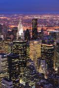 new york city manhattan skyline aerial view at dusk - stock photo
