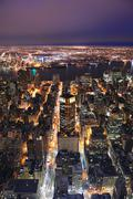 New york city manhattan skyline aerial view at dusk Stock Photos