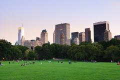 Stock Photo of new york city central park at dusk panorama