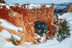 bryce canyon with snow in winter. - stock photo