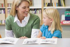 Student in class reading with teacher - stock photo