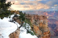 Stock Photo of grand canyon panorama view in winter with snow