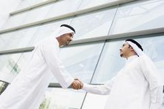 Two businessmen outdoors by building shaking hands - stock photo
