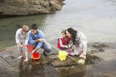 Stock Photo of young family at beach collecting shells