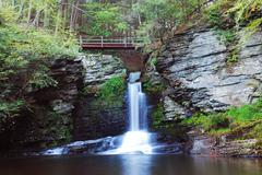 Stock Photo of waterfall with bridge