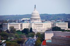 capitol hill building aerial view, washington dc - stock photo