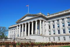 us treasury department building, washington dc - stock photo