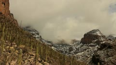 Snow Storm Saguaro Cactus Swirling Clouds Time Lapse Stock Footage
