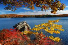 Stock Photo of autumn mountain with lake