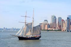 Stock Photo of sailing boat in new york city manhattan