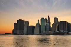 new york city sunset - stock photo