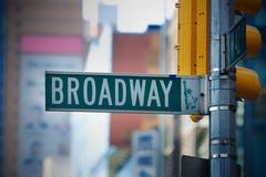 Broadway road sign in manhattan new york city Stock Photos
