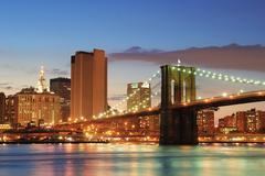 brooklyn bridge, manhattan, new york city - stock photo