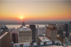 new york city manhattan sunset - stock photo