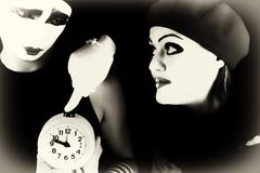 mimes and alarm clock - stock photo