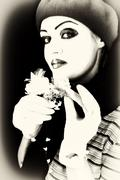 Mime with a flower Stock Photos