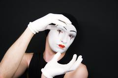 mime in white gloves - stock photo