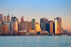 new york city downtown sunset - stock photo