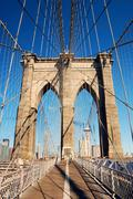 manhattan brooklyn bridge closeup - stock photo