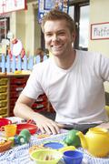 Teacher in nursery school Stock Photos