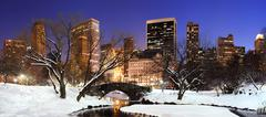 New york city manhattan central park panorama at dusk Stock Photos