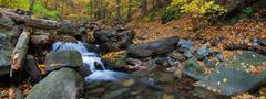 Autumn creek panorama Stock Photos