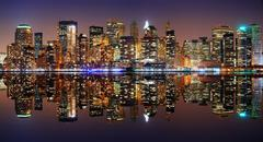 manhattan panorama, new york city - stock photo