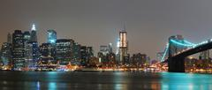 new york city night panorama - stock photo
