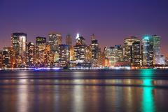 new york city downtown at night - stock photo