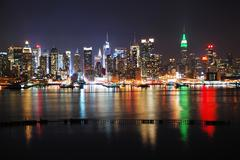 new york city with reflections - stock photo