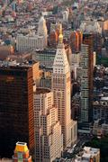 new york city street aerial view - stock photo